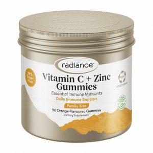 radiance sugar free vitamin c and zinc gummies for adults