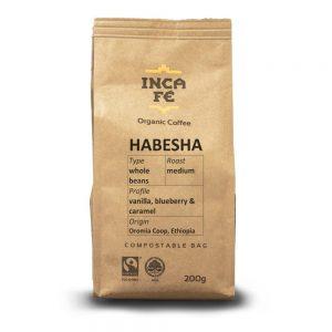 IncaFe Organic Coffee Habesha Whole Beans 200g