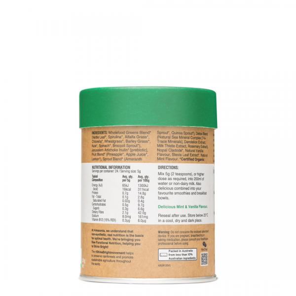 Raw Nutrients Greens 120g BACK