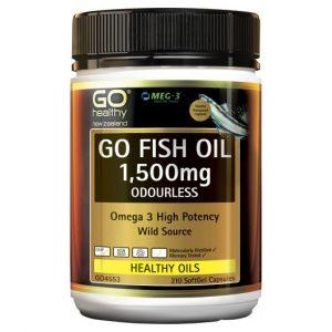 GO Fish Oil 1500mg Odourless 210 Caps 1