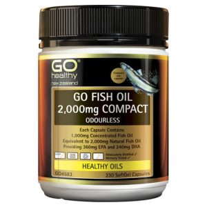 GO Fish Oil 2000mg Compact Odourless 230 Caps 1