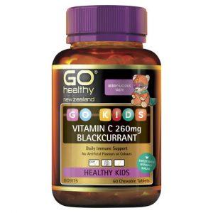 GO Kids Vitamin C 260mg Blackcurrant 60 Chew Tabs 1