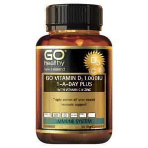GO Vitamin D3 1000IU 1 A Day Plus With Vitamin C Zinc 60 VCaps 1