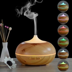 Ultrasonic Essential Oil Diffuser Light wood with multi colour light